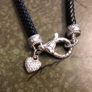 Judith Ripka Braided Necklace With Sterling Heart